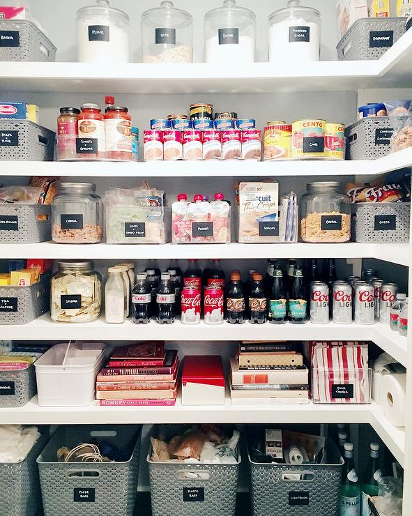 Organized Walk In Pantry With Labeled Canisters And Bins
