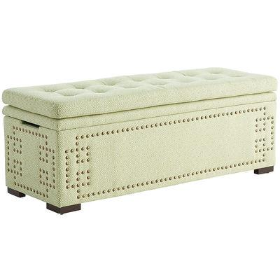 Off White Button Tufted Storage Bed Bench View Full Size