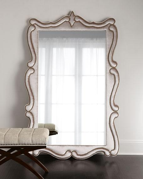silver nailhead curved frame floor mirror