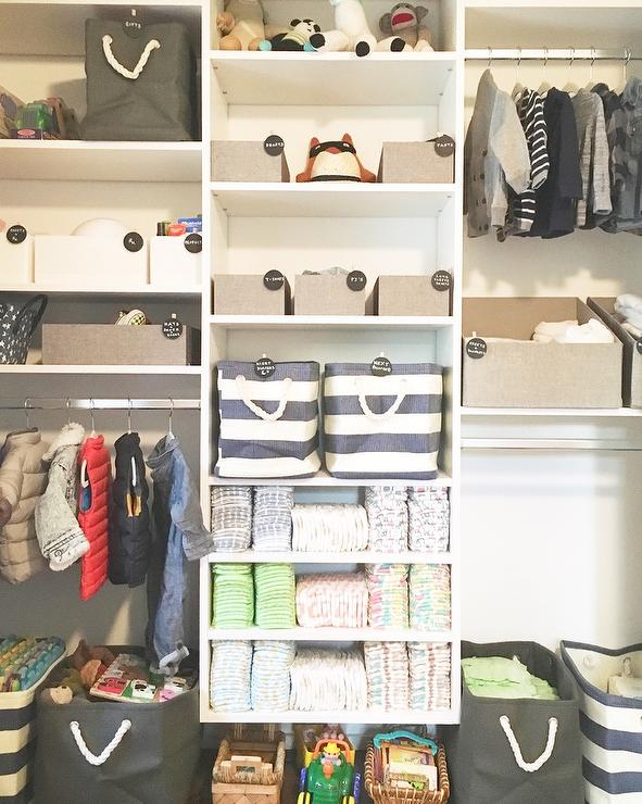 Captivating Kids Closet With Gray Bins