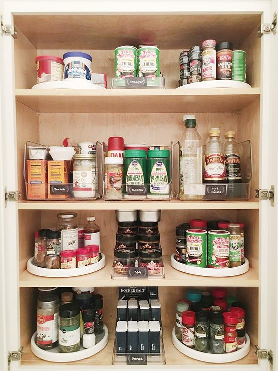White Kitchen Pantry With 3 Tier Spice Shelves And Acrylic