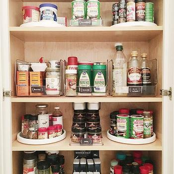 Small u shaped pantry with wicker labeled food bins transitional kitchen - Spice rack for lazy susan cabinet ...