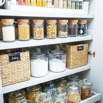 Woven Labeled Pantry Bins Design Ideas on kitchen dish storage, kitchen food storage, kitchen vegetable storage,