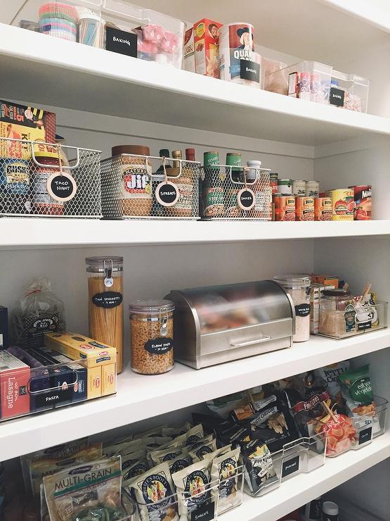 Wall Mount Pantry Snack Shelves And Metal Coffee Pod Bins