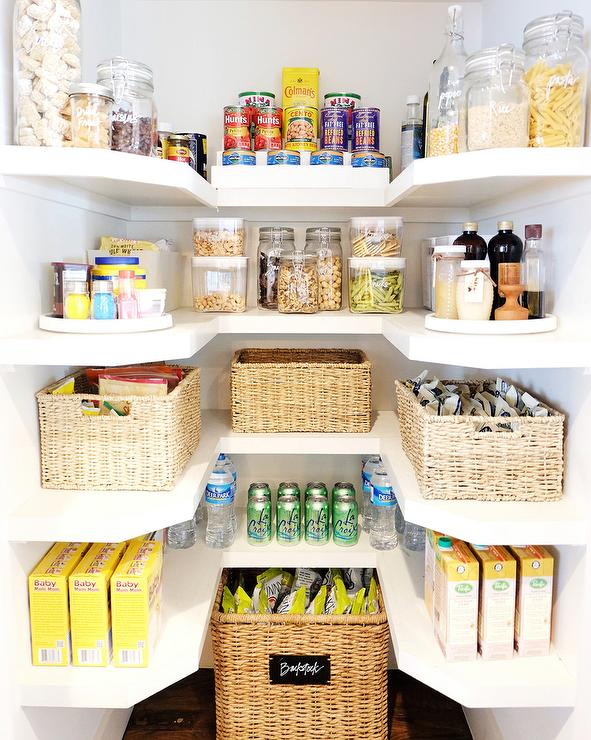 Small U Shaped Pantry with Wicker Labeled Food Bins