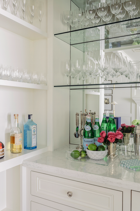 Mirrored Bar Backsplash with Glass Shelves - Transitional - Kitchen