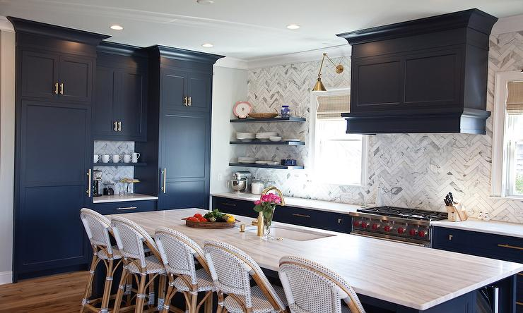 Navy Blue Kitchen Cabinets With Gray And White Quartzite Countertops View  Full Size
