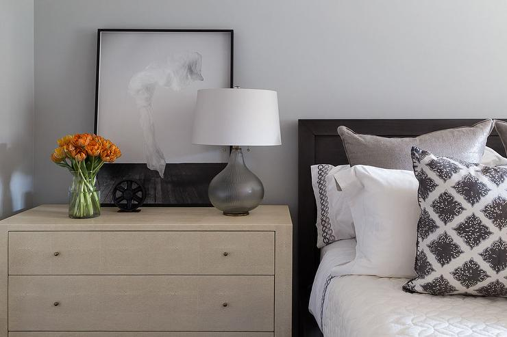 Black Wood Bed with Blond Dresser as Nightstand and Smoke Gray