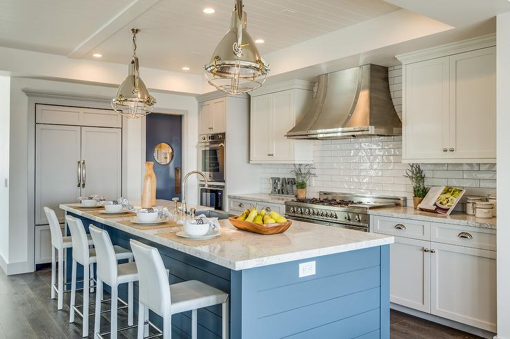 light blue kitchen island pale blue white and blue kitchen with shiplap island cottage kitchen