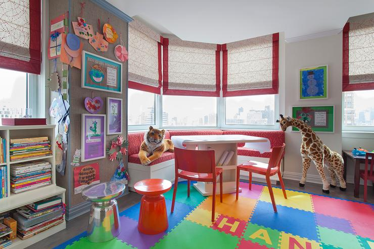 Playroom And Homework Room With Curved Banquette