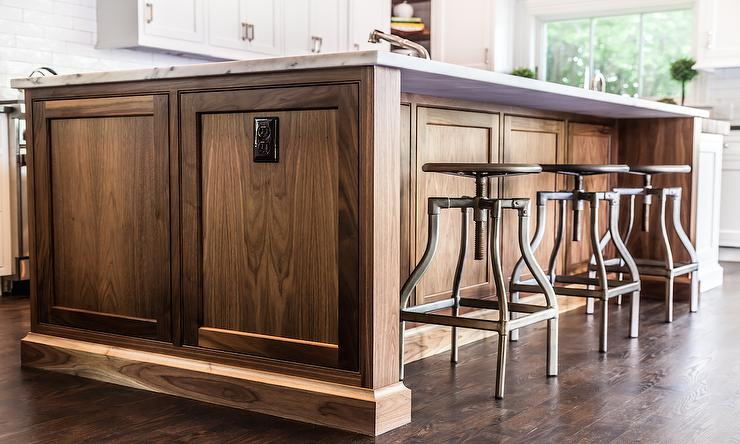 Dark Walnut Island With Swivel Industrial Stools