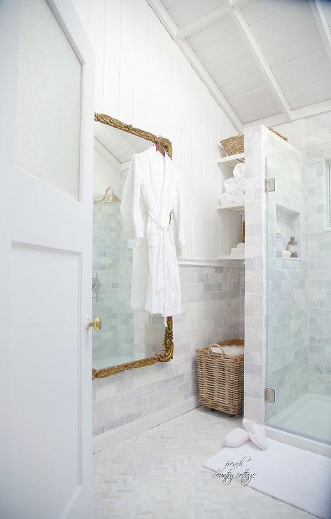 French Doors With Brass Hardware Eclectic Bathroom