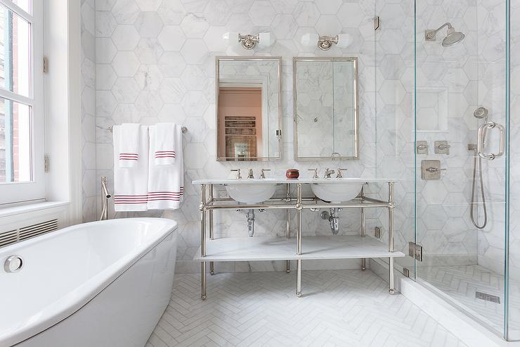 Master bathroom with large white marble hexagon wall tiles transitional bathroom Marble hex tile bathroom floor