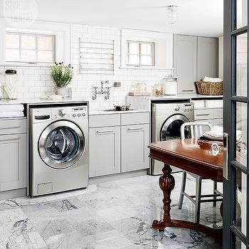 stainless steel mini brick tile backsplash contemporary laundry room. Black Bedroom Furniture Sets. Home Design Ideas