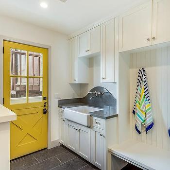Beach Style Laundry Room and Mudroom Combo with Yellow Door & Mudroom Yellow Doors Design Ideas