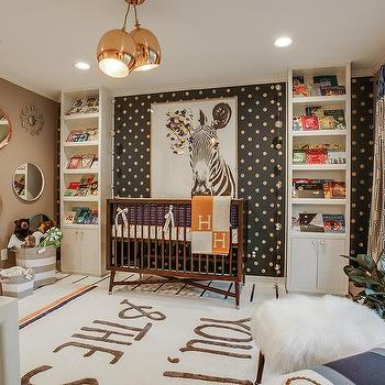 Brown Boy Nursery With Gold Dots Accent Wall