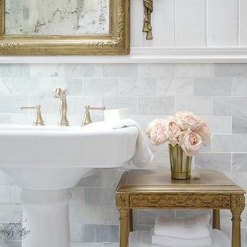 French Master Bathroom With Pedestal Sink And Gold Mirror