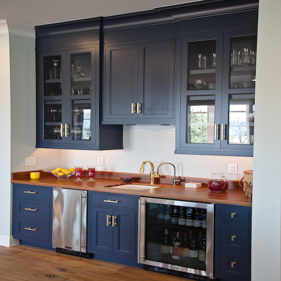 navy wet bar cabinets with wood countertops and stainless steel mini fridge transitional. Black Bedroom Furniture Sets. Home Design Ideas
