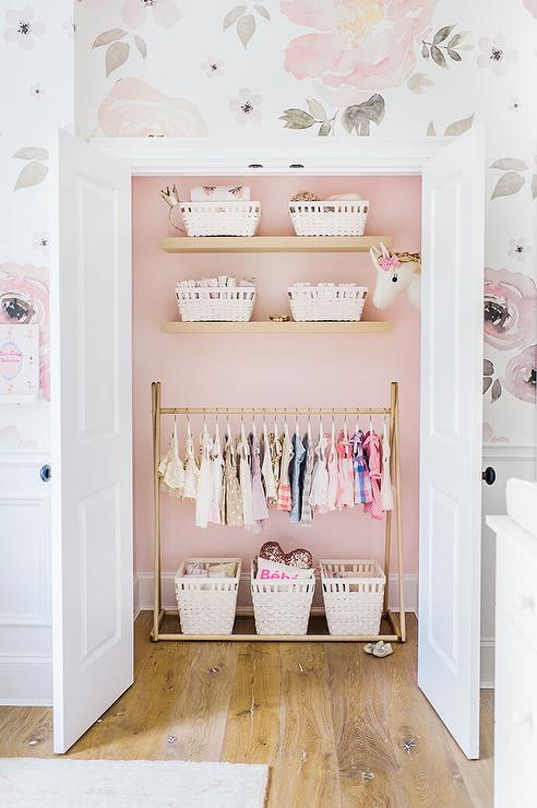 Nursery Closet Painted Pink With Gold Clothes Rail