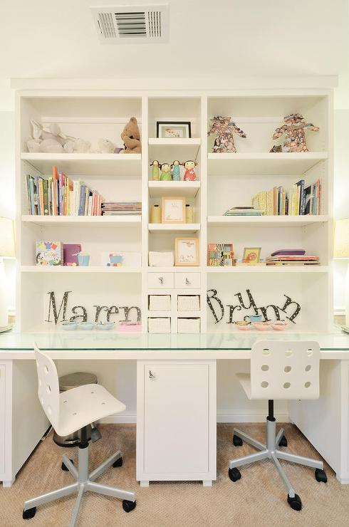 Girls Room with Glass Top Desk Under Shelves - Transitional - Girl\'s ...