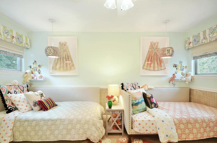 Shared Kids Room With Gray Corner Daybeds Transitional