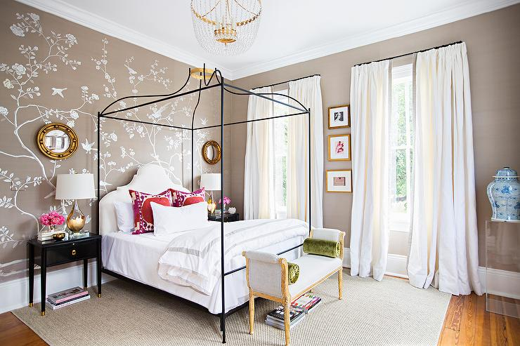 Silver And Taupe Bedroom Accent Wall Design Ideas