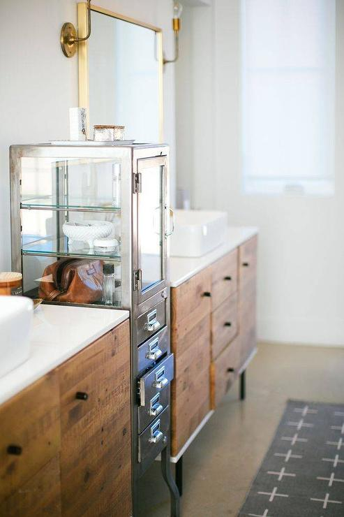 Reclaimed Wood Buffet As Bath Vanity Design Ideas