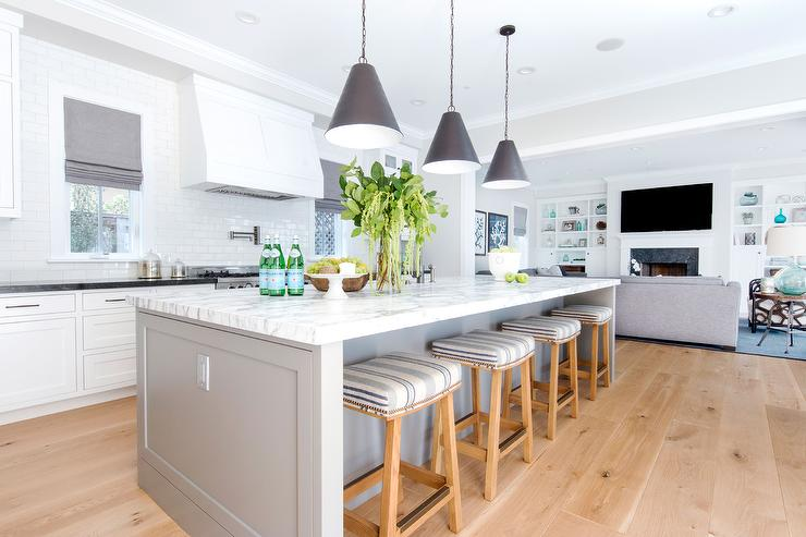 White And Gray Kitchen With Black Goodman Hanging Lamps - Over the counter hanging lights