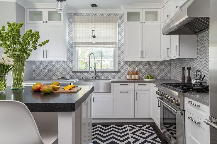 Kitchen Backsplash Gray gray cabinets with marble chevron tile backsplash - transitional