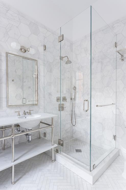 Shower with White Herringbone Floor Tiles - Transitional - Bathroom