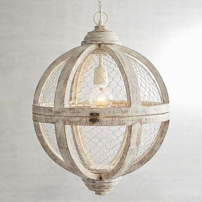 antique white round wooden pendant light