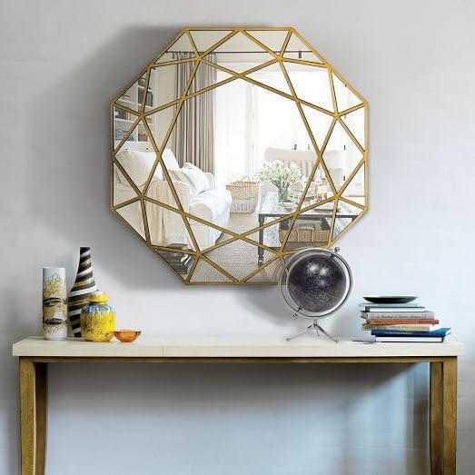 Gold geometric framed wall mirror for Mirror framed wall mirror