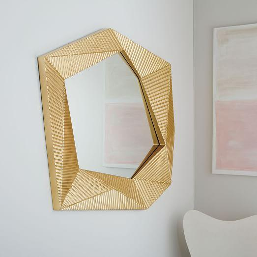 gold faceted grooved wall mirror