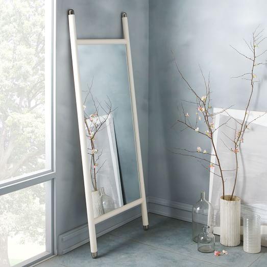Mid Century White Floor Mirror