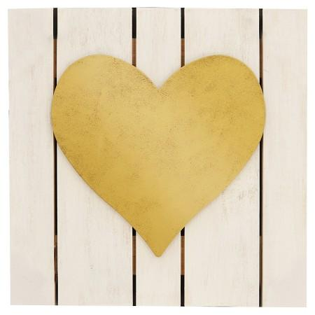 Gold Heart Plank Art