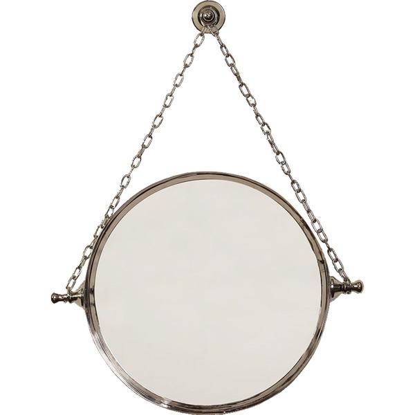 Silver Round Chain Hung Mirror