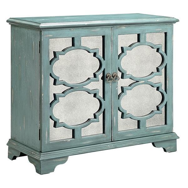 Antique Mirror Fretwork Blue Accent Cabinet