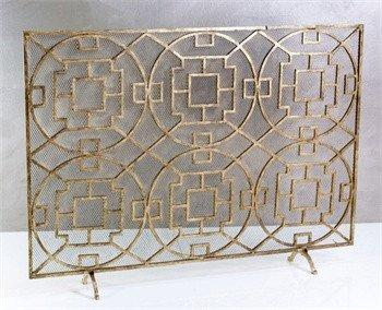 Decor/accessories - Gorgeous fireplace screen featuring an antique gold leaf geometric pattern