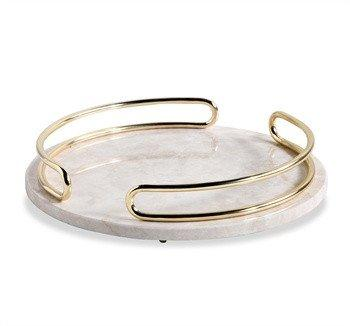 Gray And Gold Round Marble Tray
