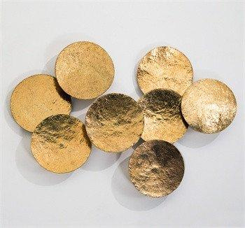 Shiny brass wall discs art for Brass wall art