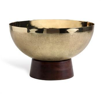 Wooden Base Brass Bowl
