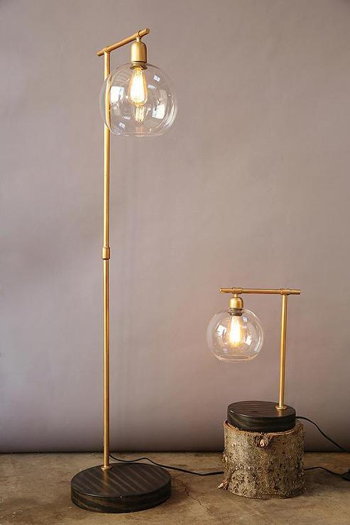 Gold globe floor lamp for Tree floor lamp canada