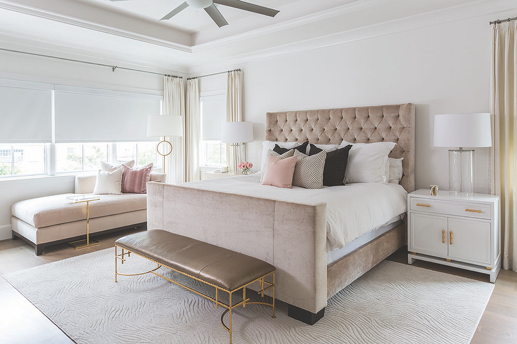 Pink and Brown Bedroom with Gray Leather Bench - Transitional ...