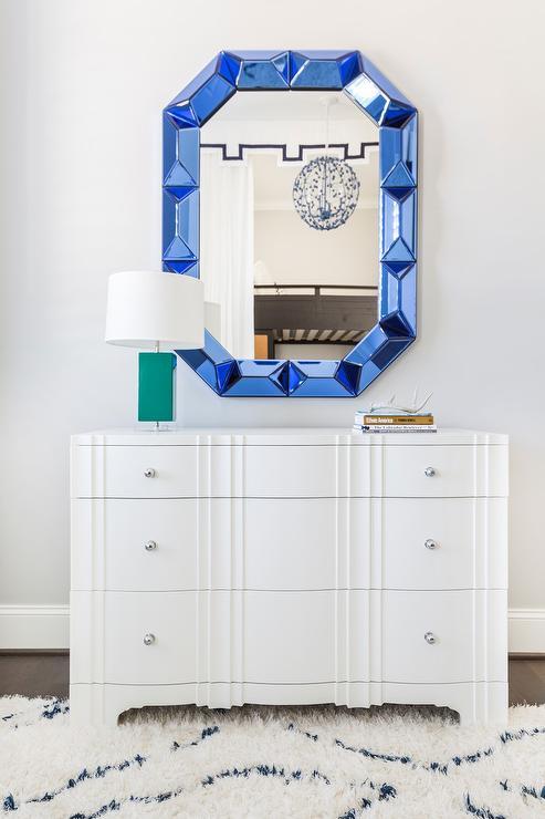 White Bedroom Dresser With Sapphire Blue Mirror