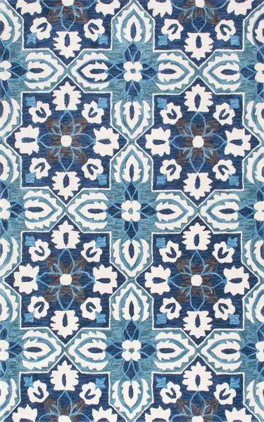 Homespun Border Blue Rug