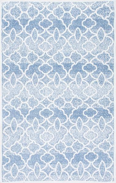 Blue And White Distressed Geometric Pattern Rug