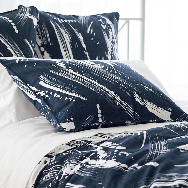 Brushstroke Indigo And White Reversible Bedding