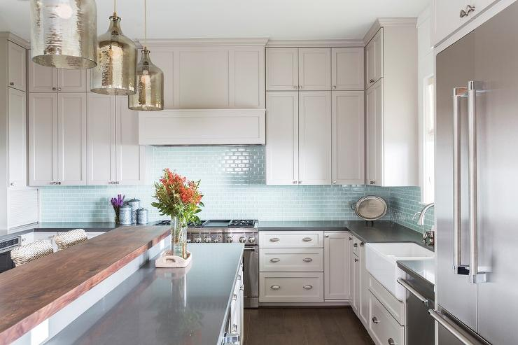 Relatively Light Gray Kitchen Cabinets with Aqua Mini Glass Tile Backsplash  KM72