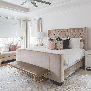 Taupe And Gray Bedroom With Dark Gray Chaise Lounge Under