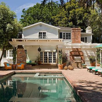 Red Brick Pool House Design Ideas